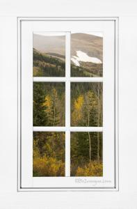For Immediate Release New Scenic Autumn Glacier View Through A White Window